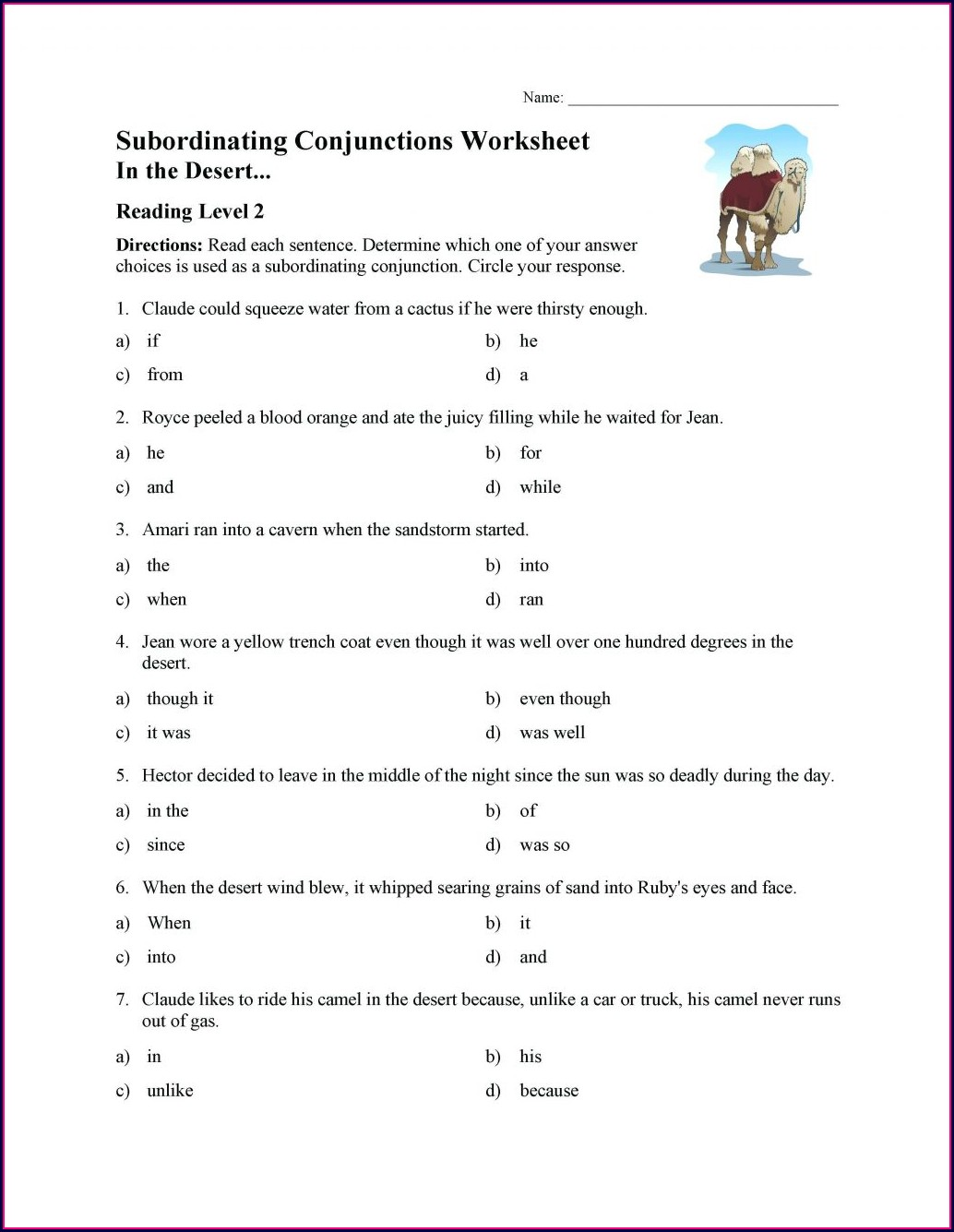 Conjunctions Worksheets For Grade 5 With Answers Pdf