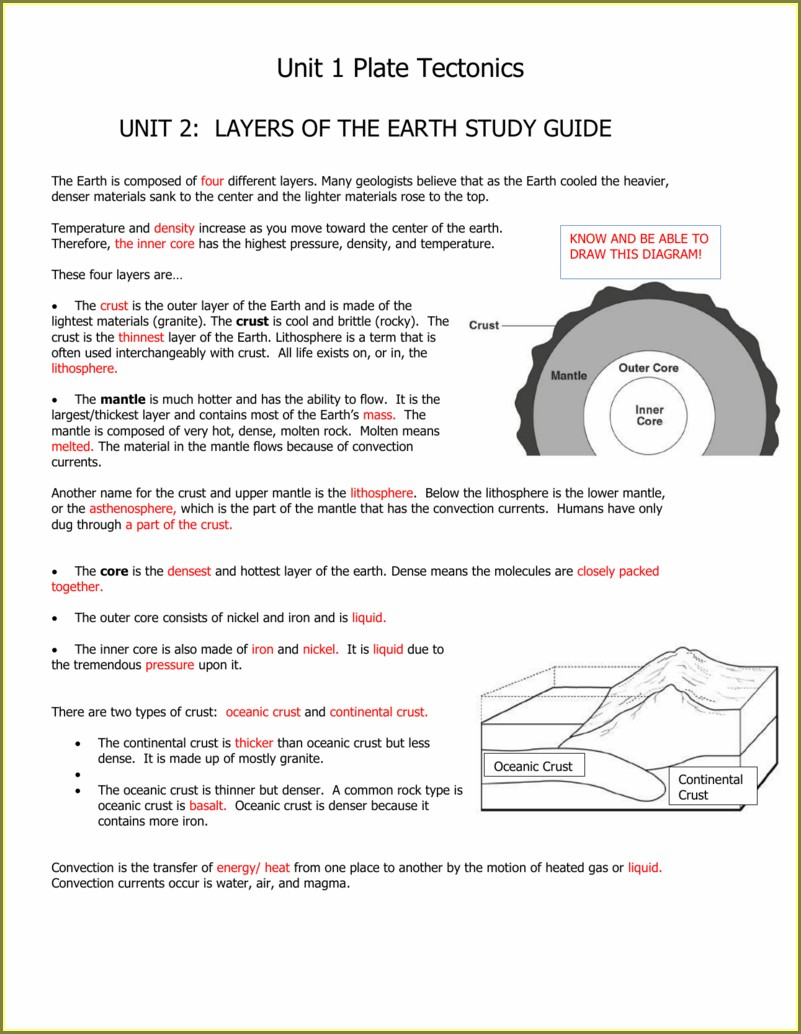 Convection Currents And Plate Tectonics Worksheet