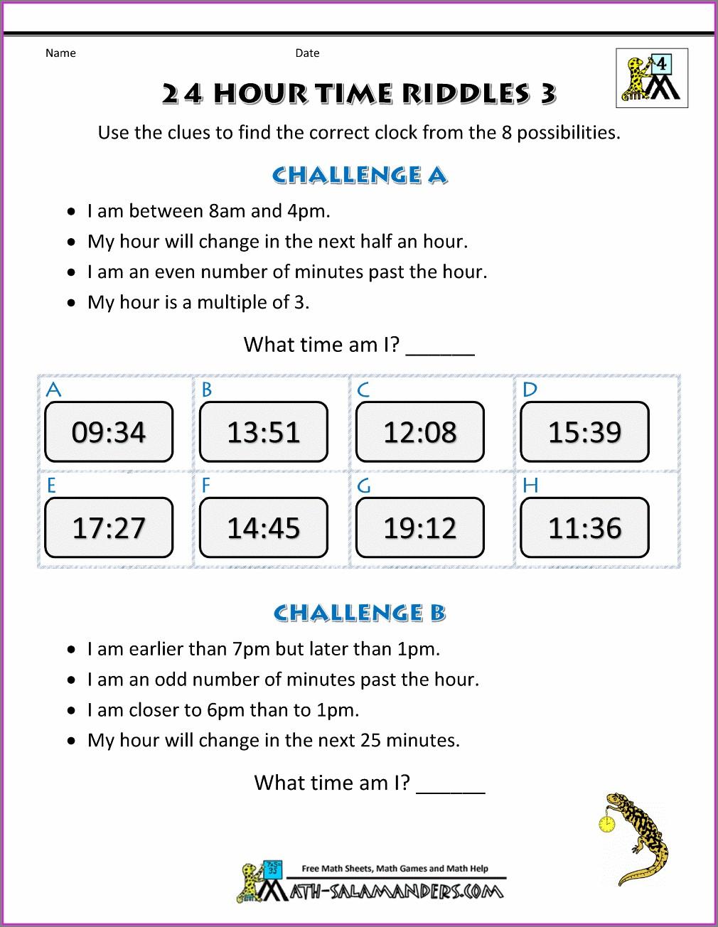 Converting Clock Times Worksheet