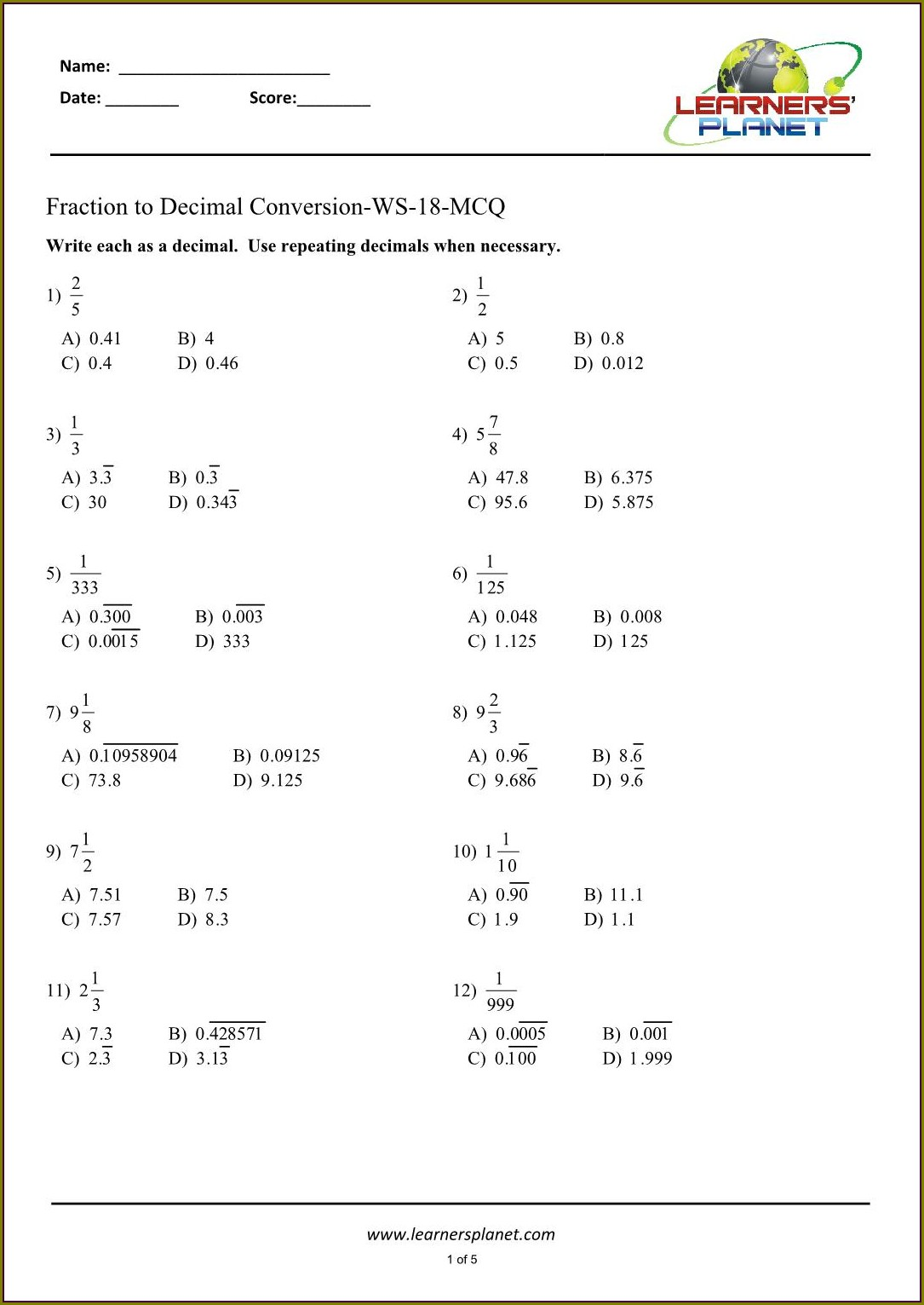 Converting Fractions To Decimals Worksheet Grade 7