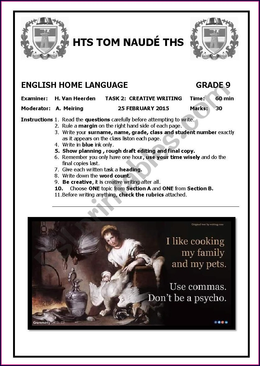 Creative Writing Grade 9 English Worksheets