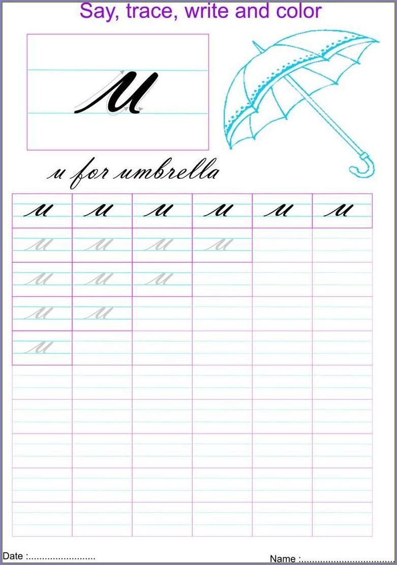 Cursive Letter U Worksheet