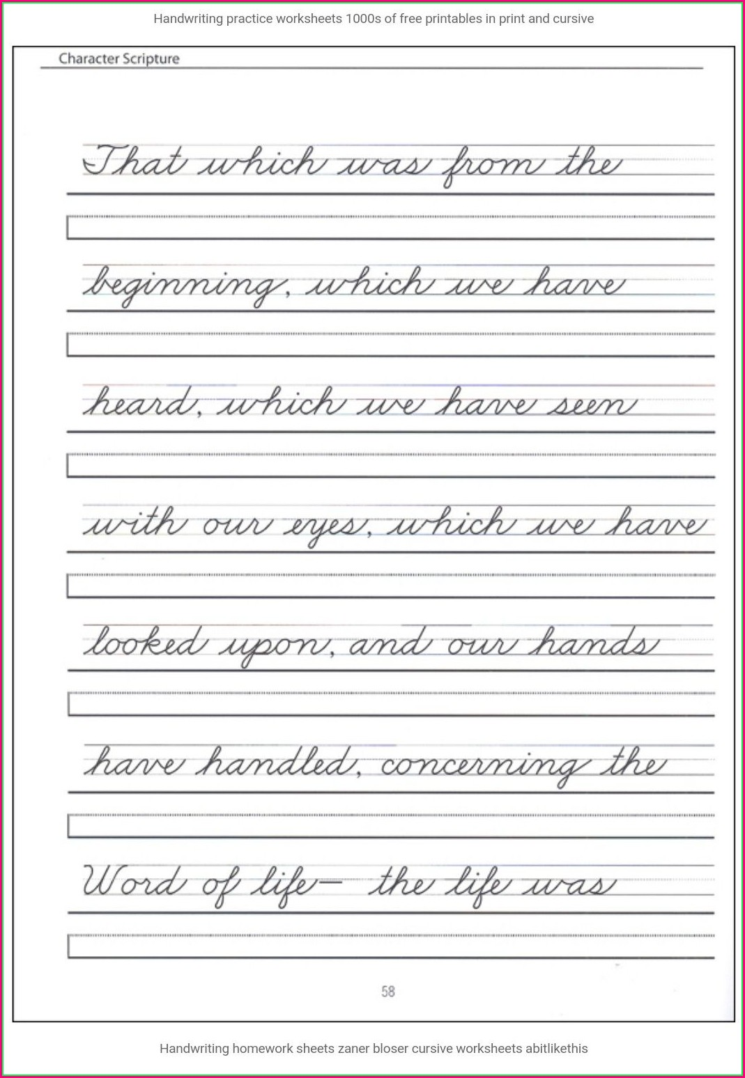 Cursive Writing Sentences Worksheets Free Download