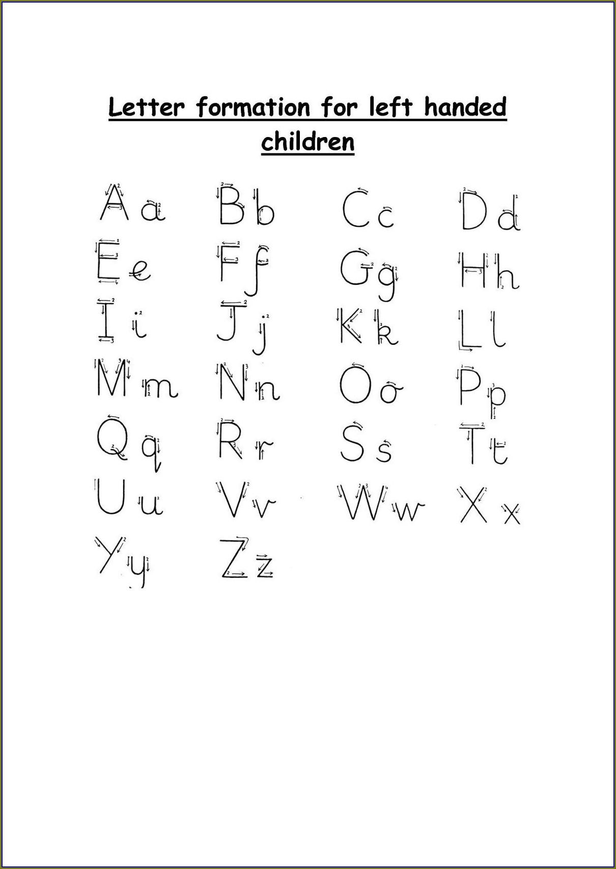 Cursive Writing Worksheets For Left Handed