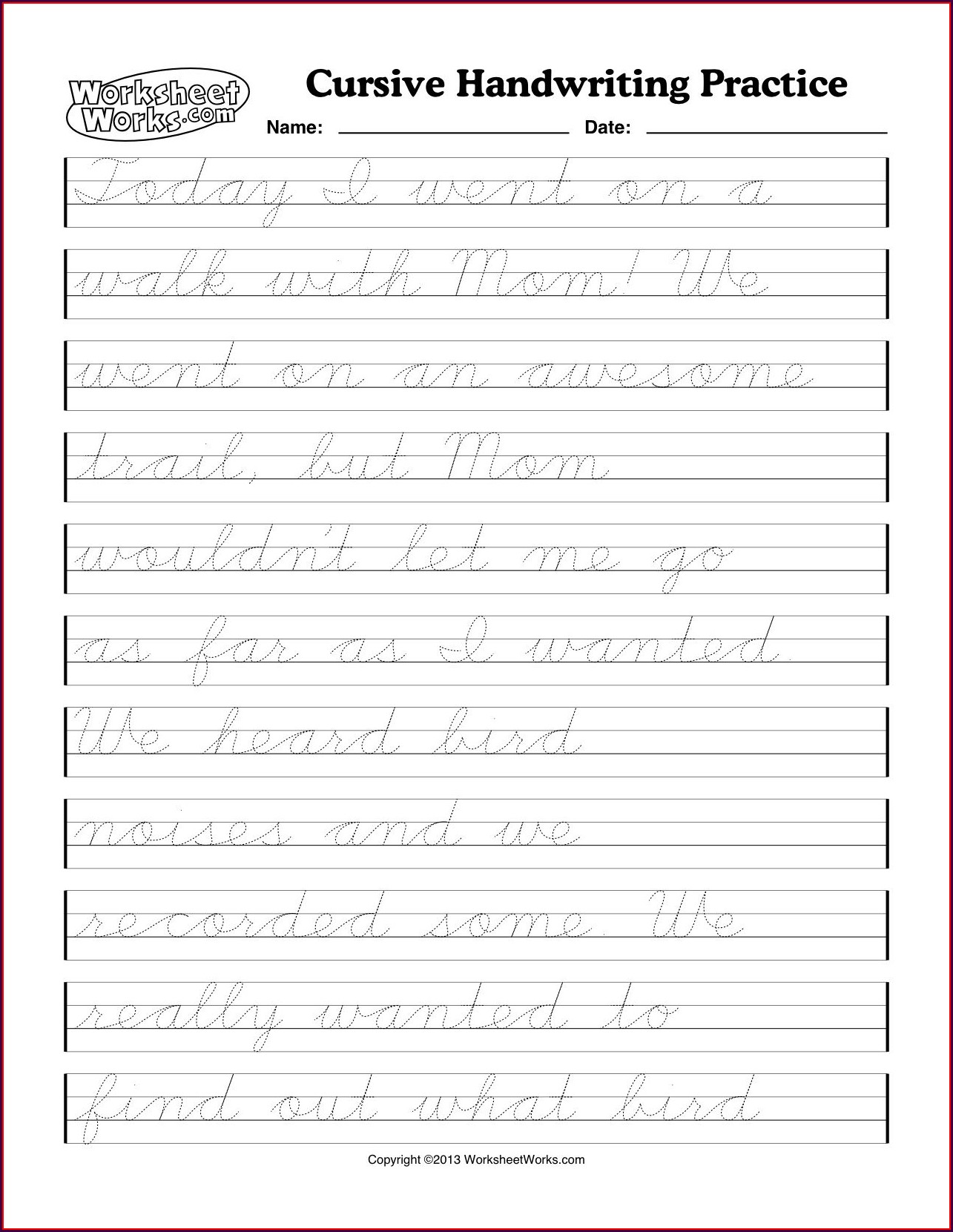 Cursive Writing Worksheets Free Worksheet Resume