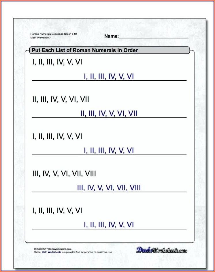 Dates In Roman Numerals Worksheet