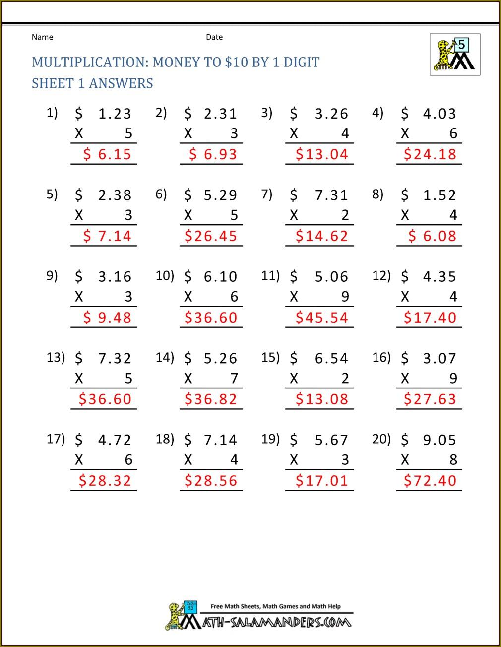 Decimal Multiplication Worksheet For Class 5
