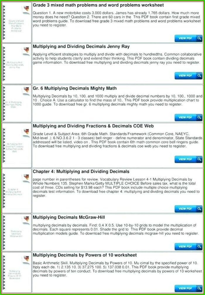 Decimal Word Problems Multiplication Worksheet