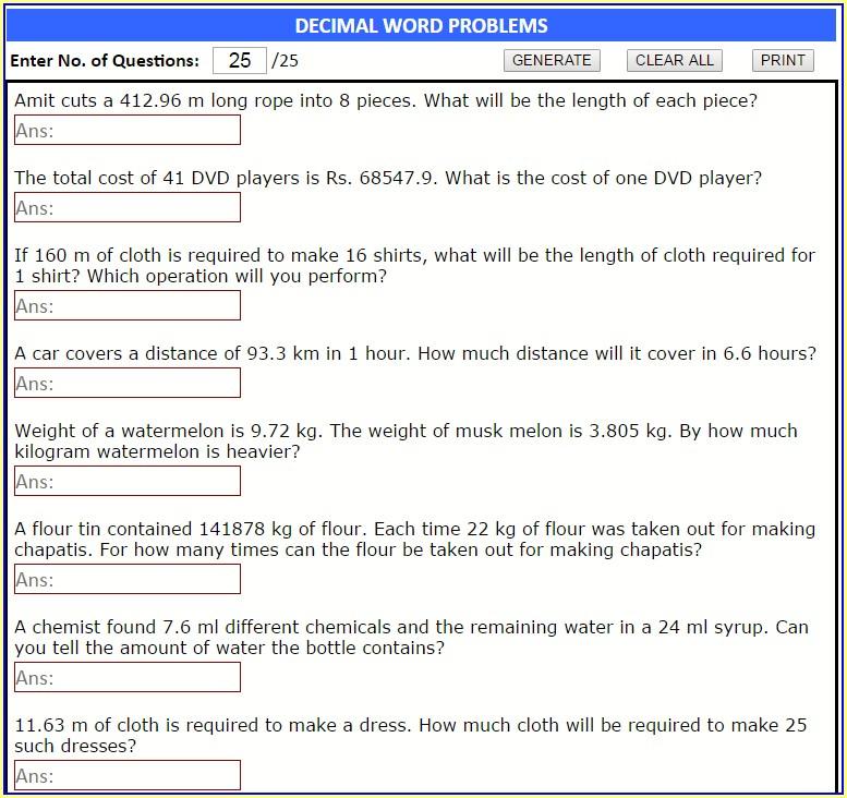 Decimal Word Problems Printable Worksheets