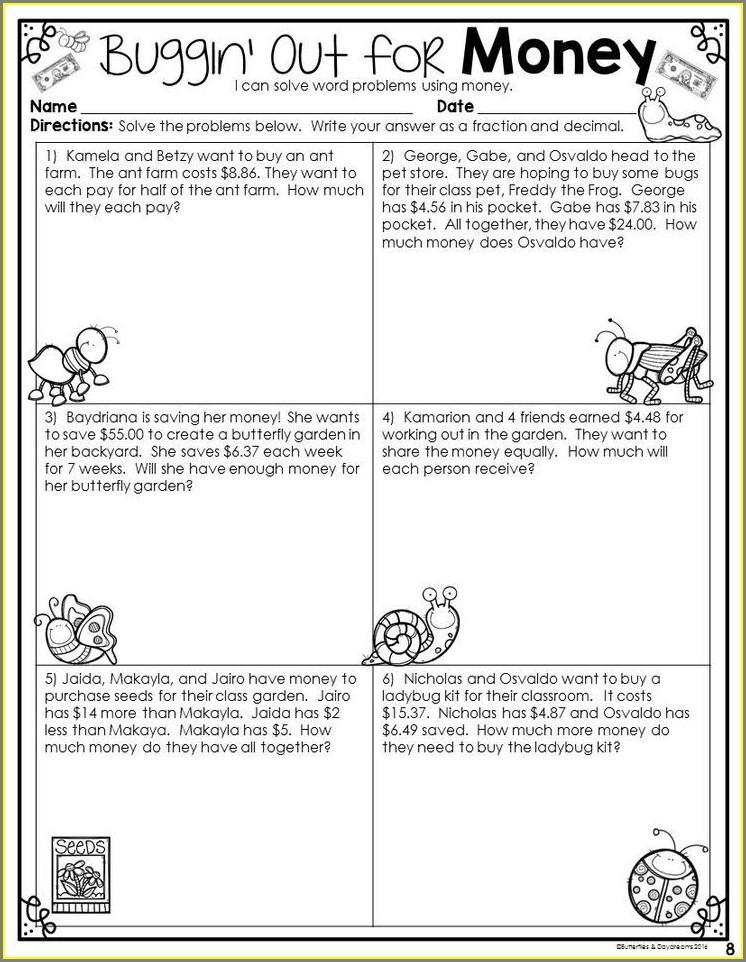 Decimal Word Problems Worksheet Grade 7