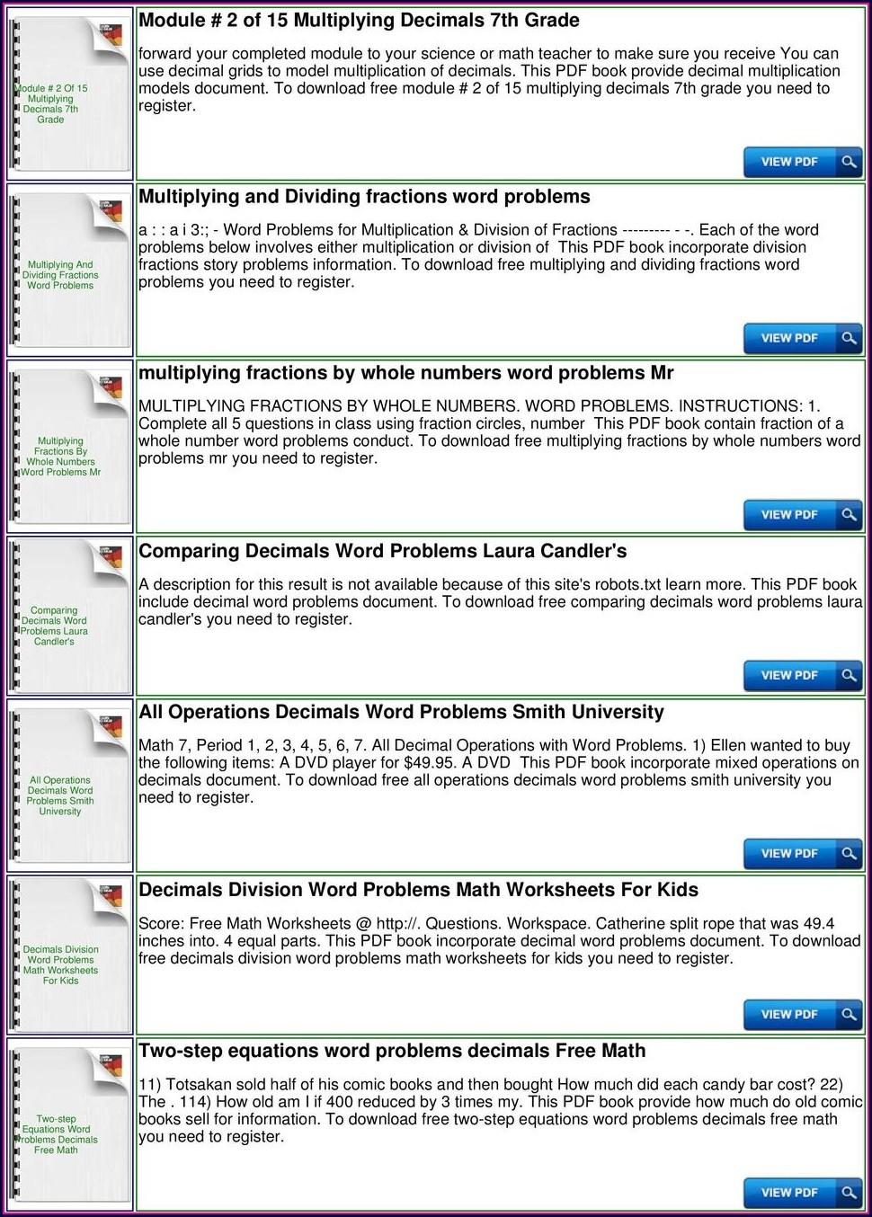 Decimals Word Problems Worksheets Grade 4