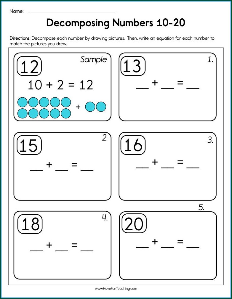 Decomposing Numbers To 5 Worksheets