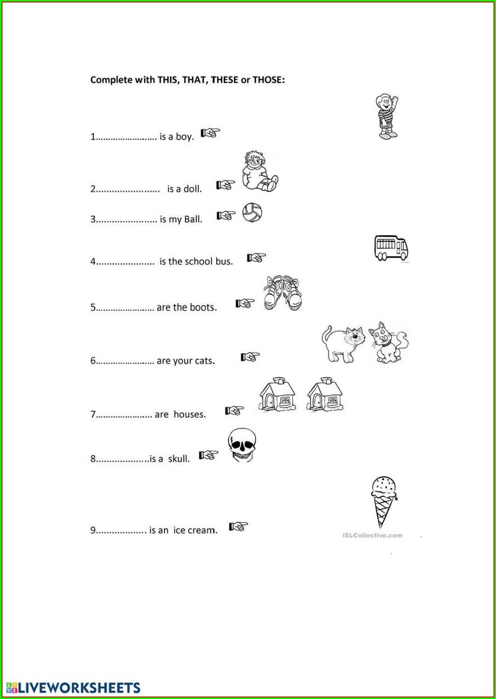 Demonstrative Pronouns Worksheet For Grade 2