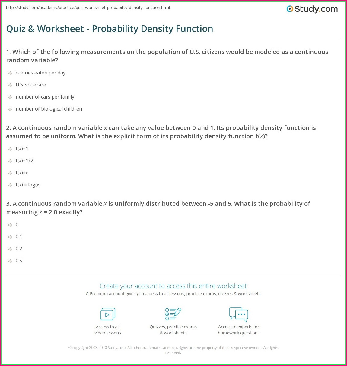 Density And Distribution Worksheet Answers