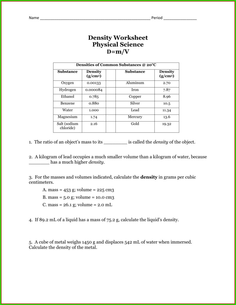 Density Cube Lab Worksheet Answers