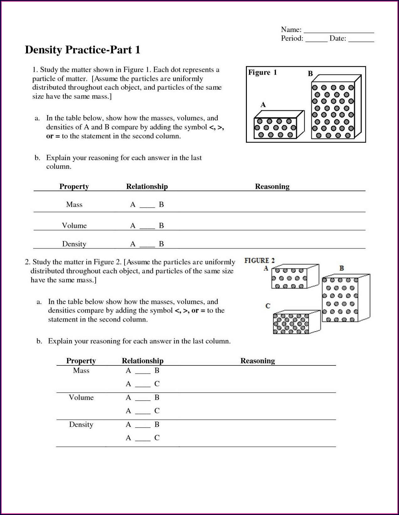 Density Particle Diagram Worksheet Answers
