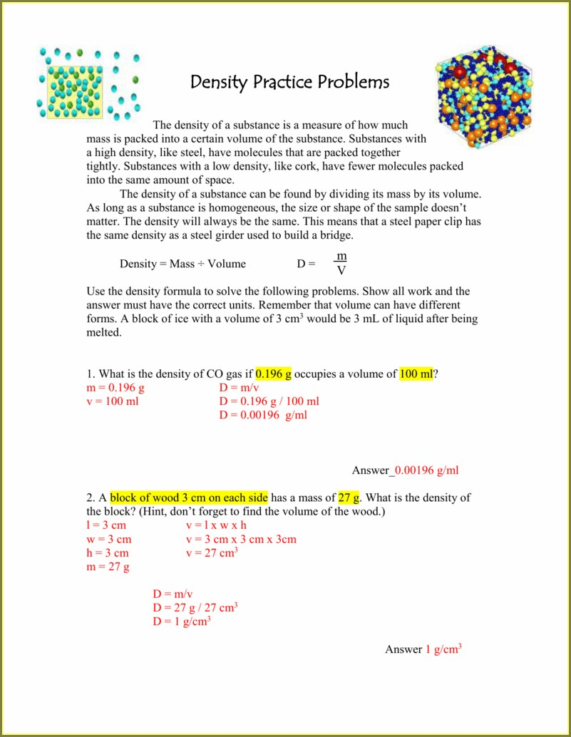 Density Practice Worksheet Answer Key