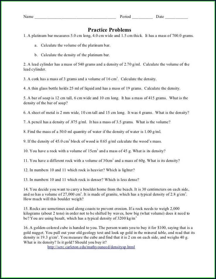 Density Problems Worksheet For Middle School