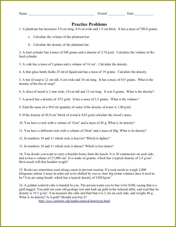 Density Worksheet Answers Pdf