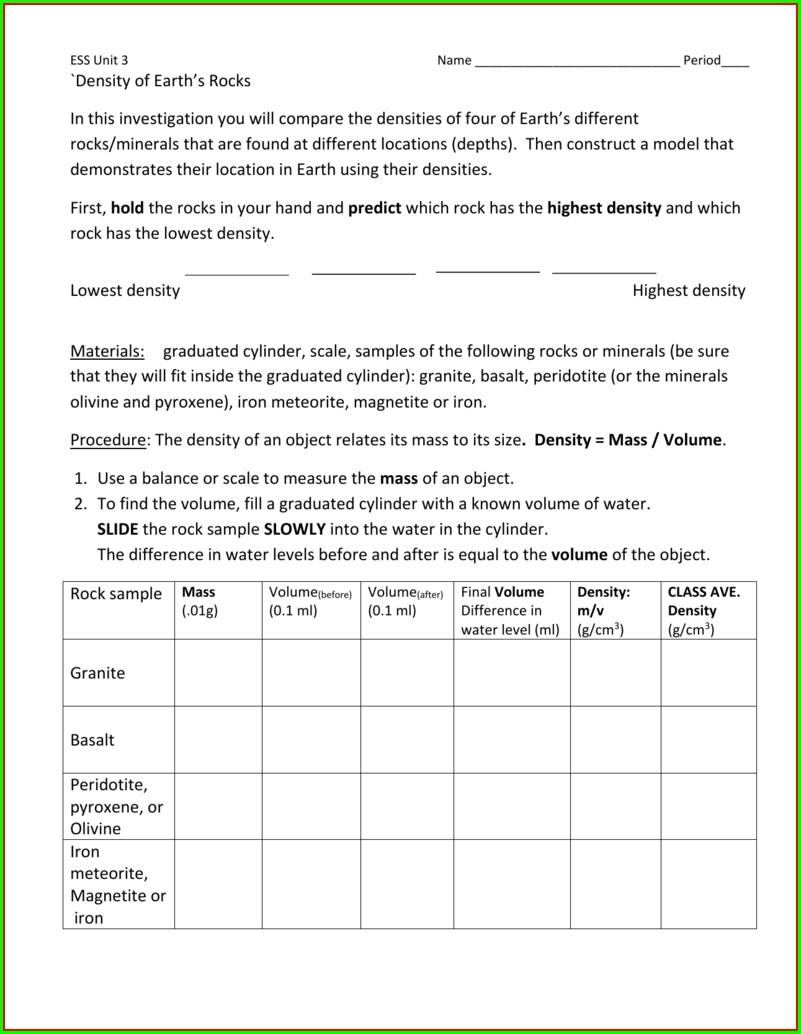 Density Worksheet Earth Science