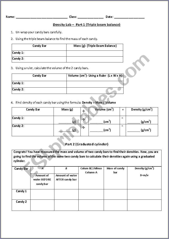 Density Worksheets For Elementary Students