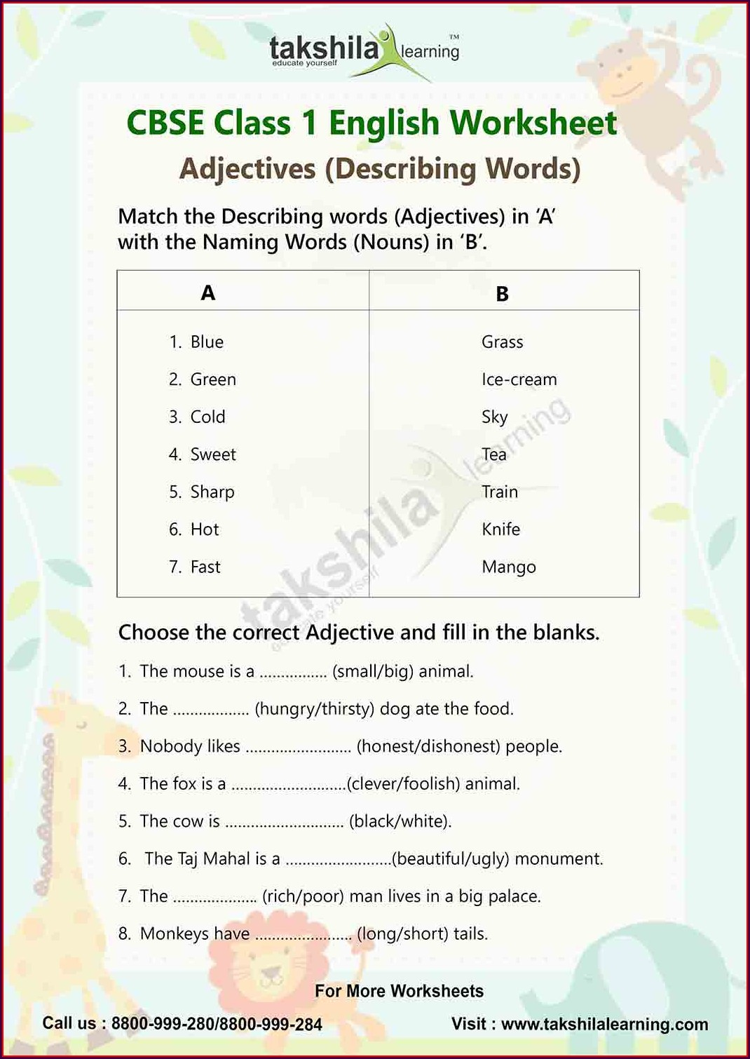 Describing Words Worksheet For Grade 4