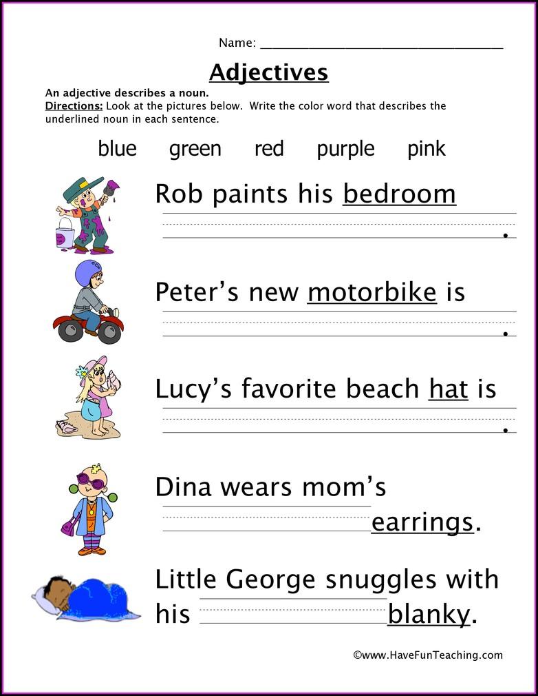 Describing Words Worksheet For Kinder