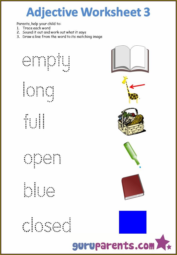 Describing Words Worksheets For Preschoolers
