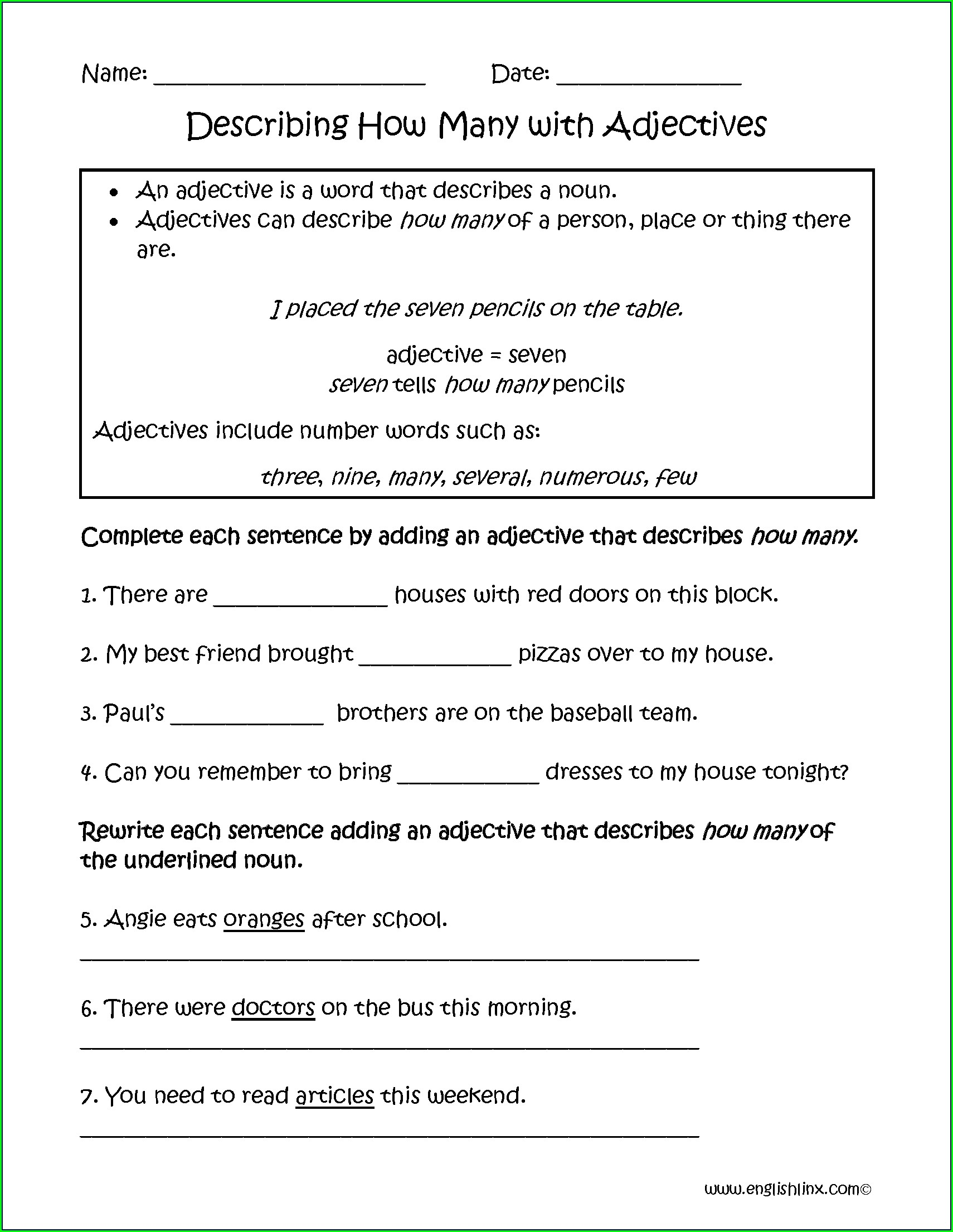 Descriptive Adjectives Worksheet 6th Grade
