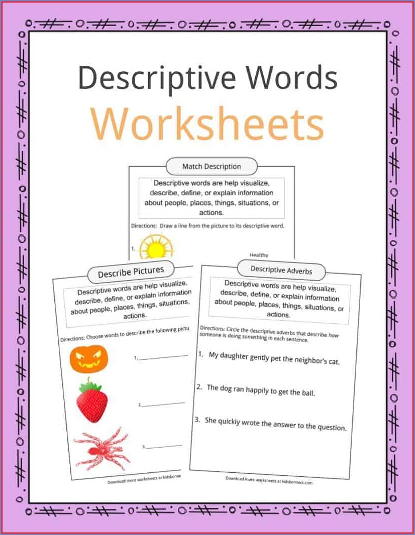 Descriptive Words And Phrases Worksheets