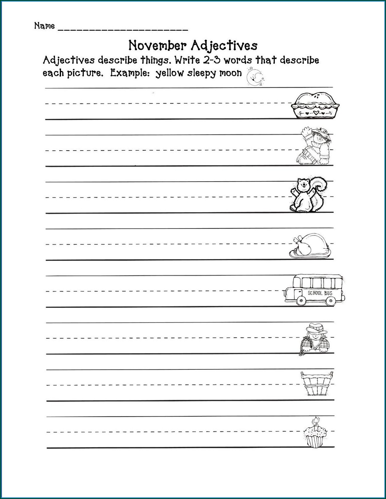 Descriptive Words Worksheet 2nd Grade