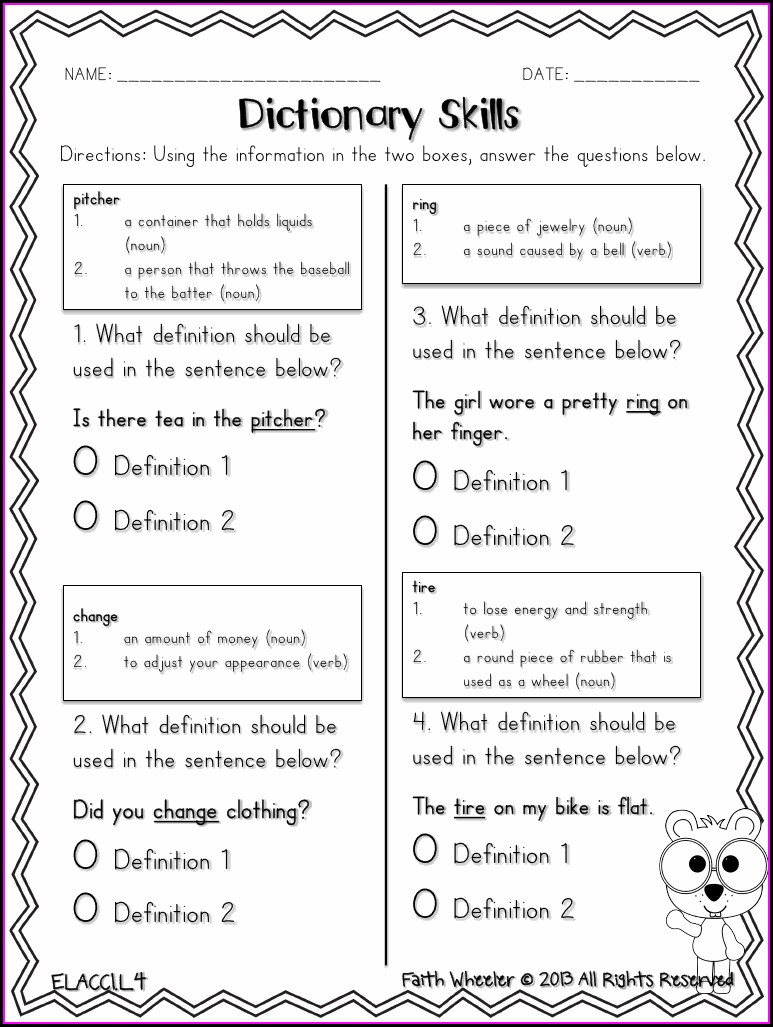 Dictionary Skills Multiple Meaning Words Worksheets