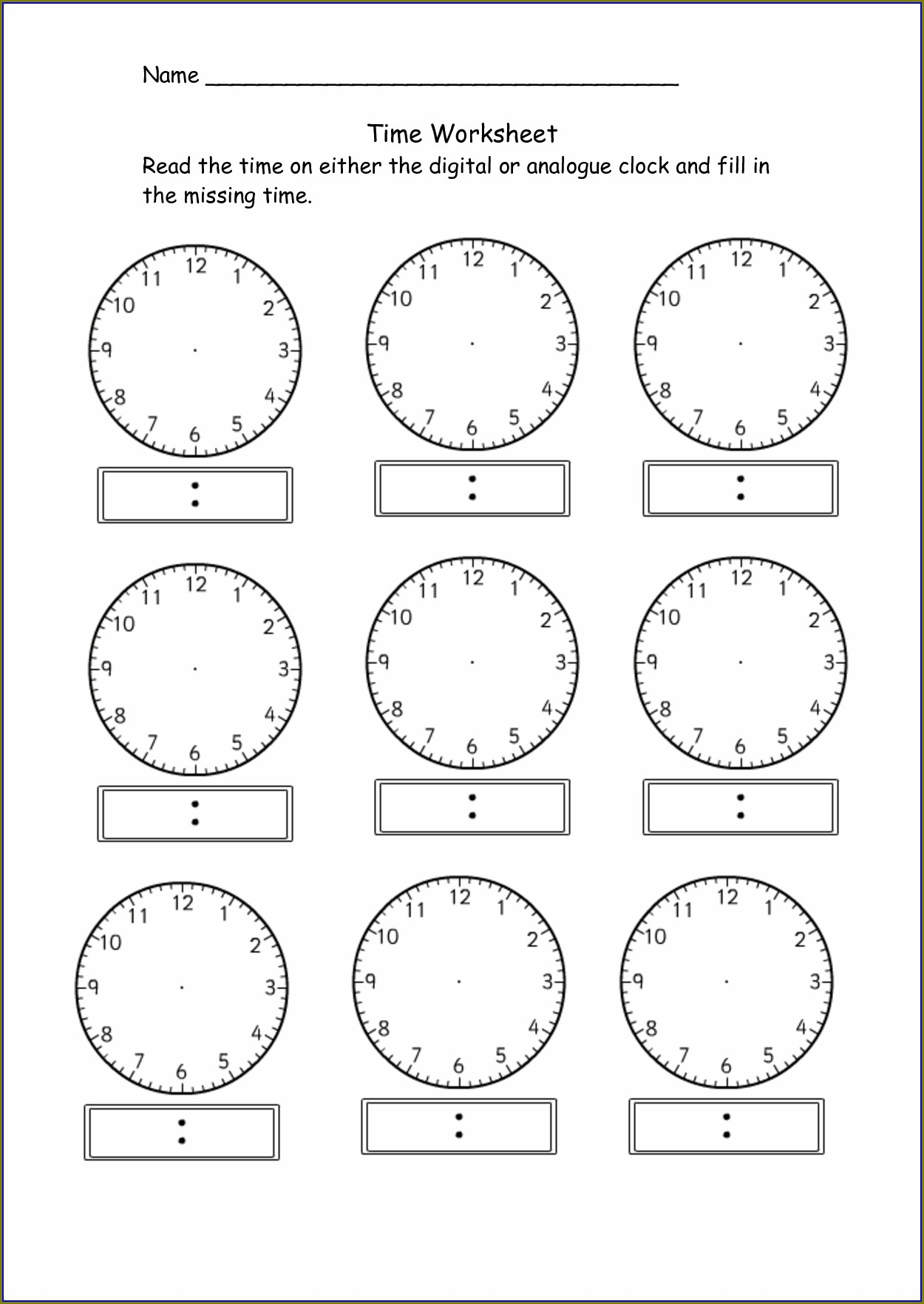 Digital Time Clock Worksheets