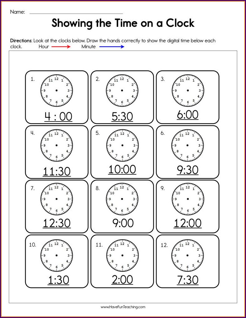 Digital Time Oclock Worksheets