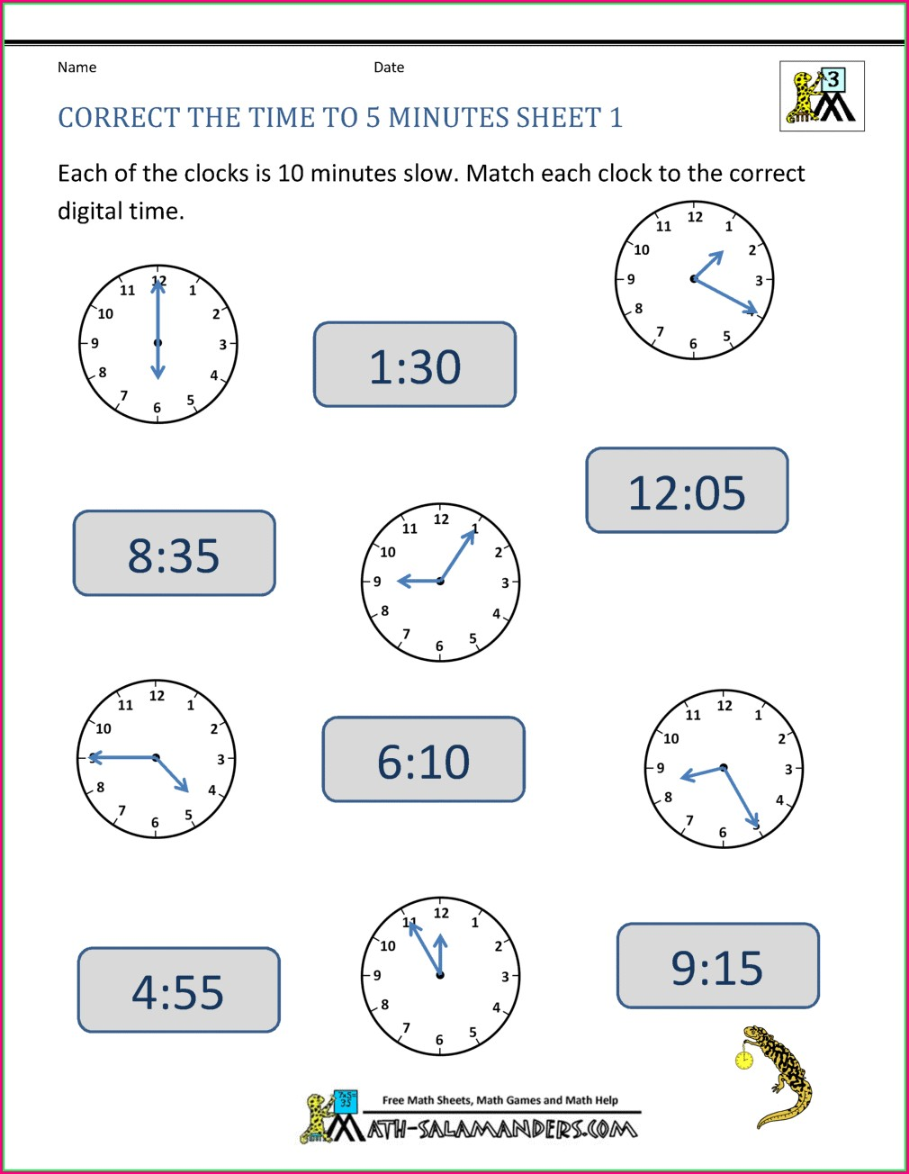 Digital Time Worksheets Grade 3