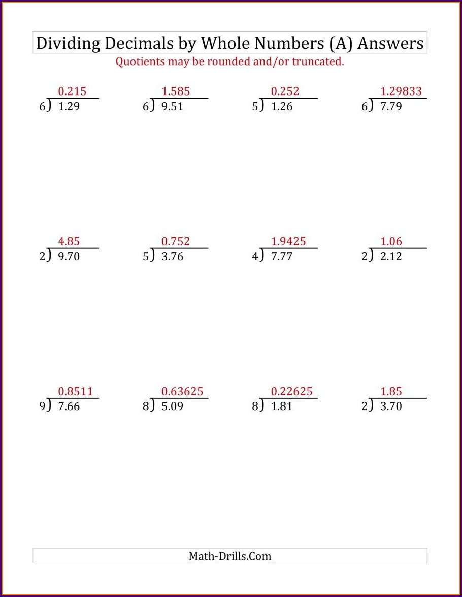 Dividing Decimals By Whole Numbers Practice Worksheets