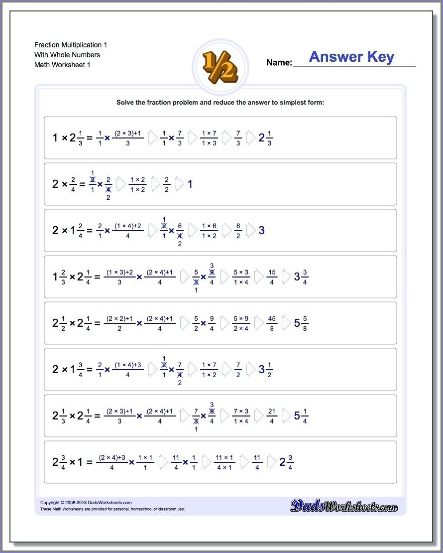 Dividing Fractions And Whole Numbers Worksheet
