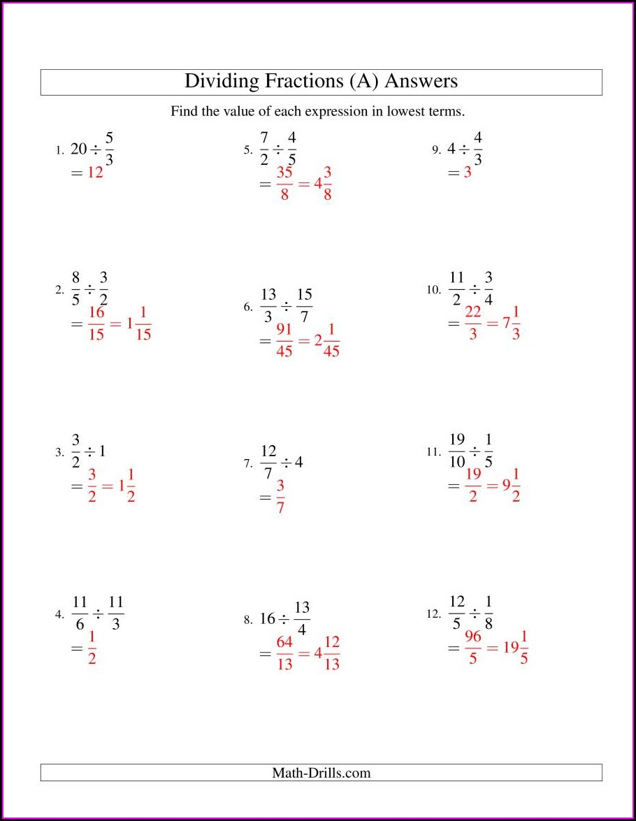 Dividing Fractions By Whole Numbers Worksheet Pdf