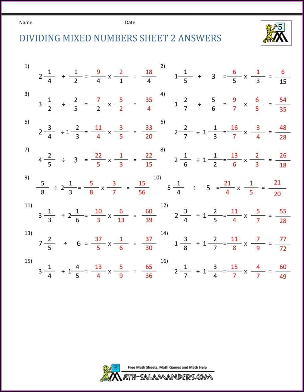 Dividing Mixed Numbers Word Problems Worksheet