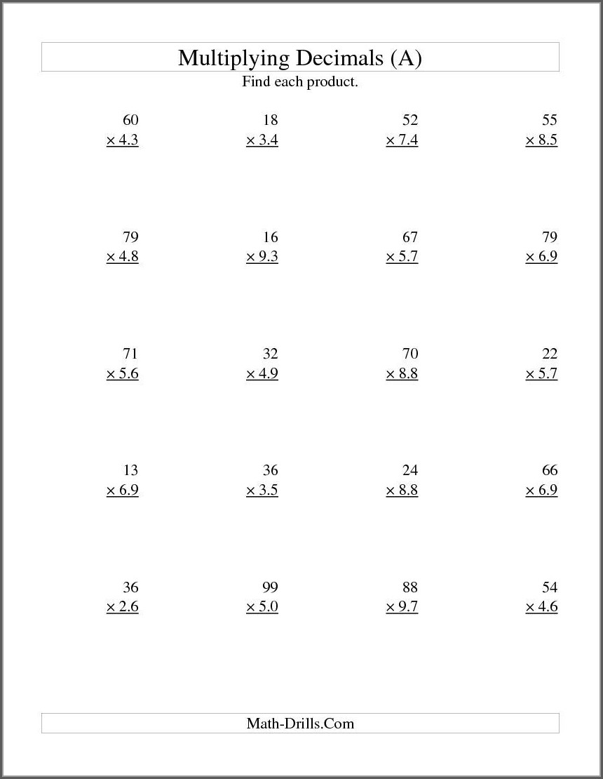 Dividing Multi Digit Whole Numbers Worksheets