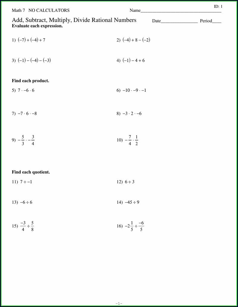 Dividing Rational Numbers Worksheet Pdf