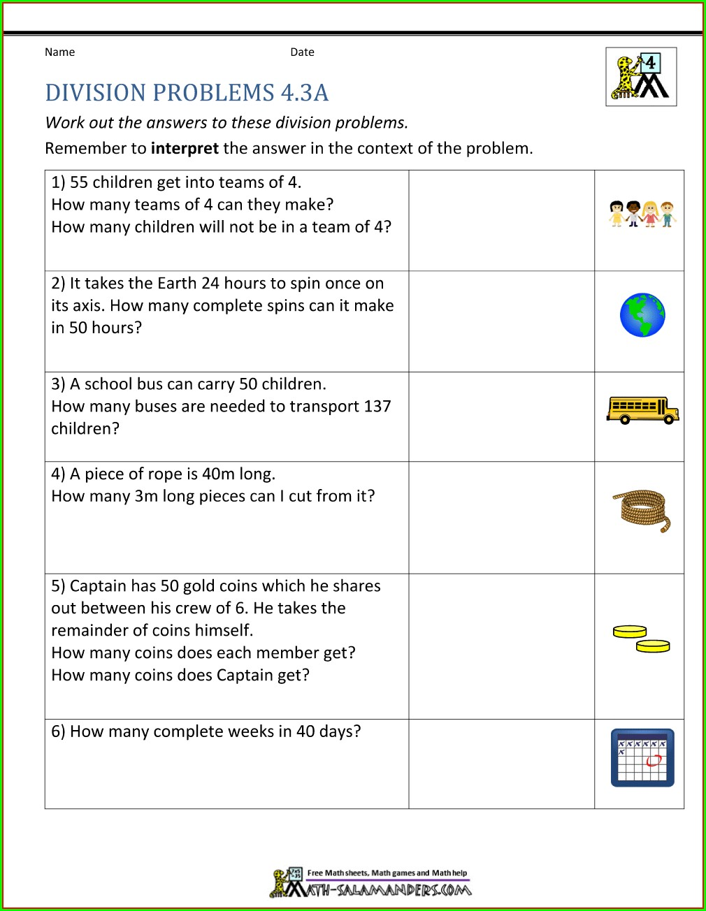 Division Worksheets Grade 4 Word Problems
