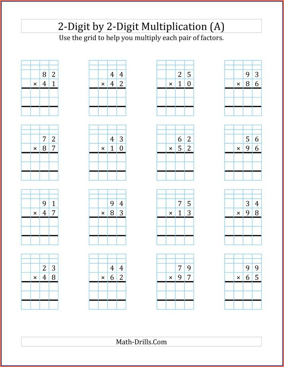 Double Digit Multiplication Area Model Worksheet