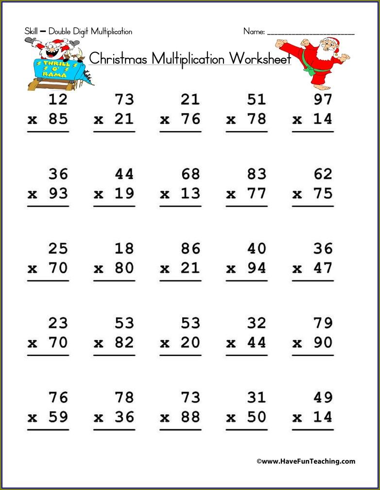 Double Digit Multiplication Worksheet Free