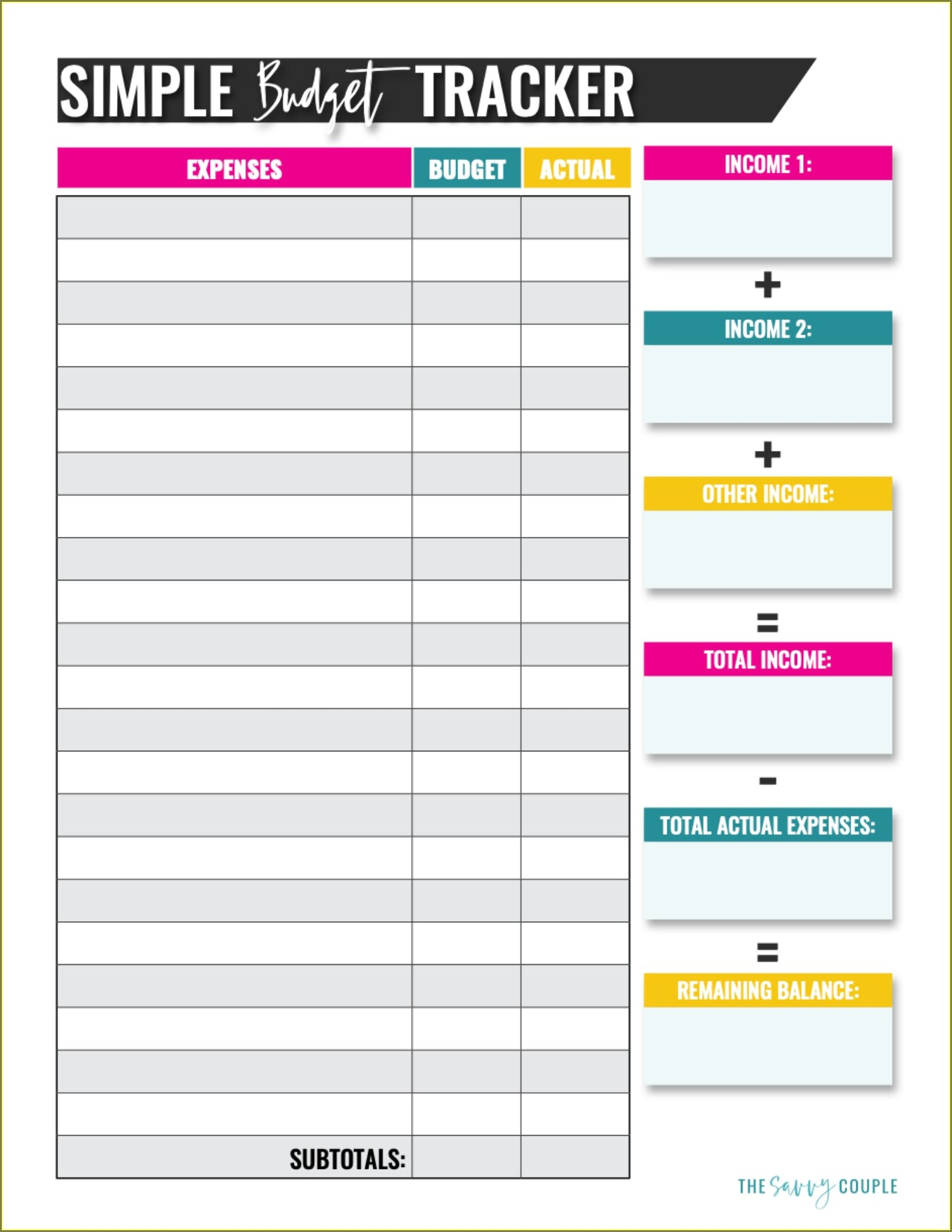 Downloadable Free Blank Budget Worksheet Printable