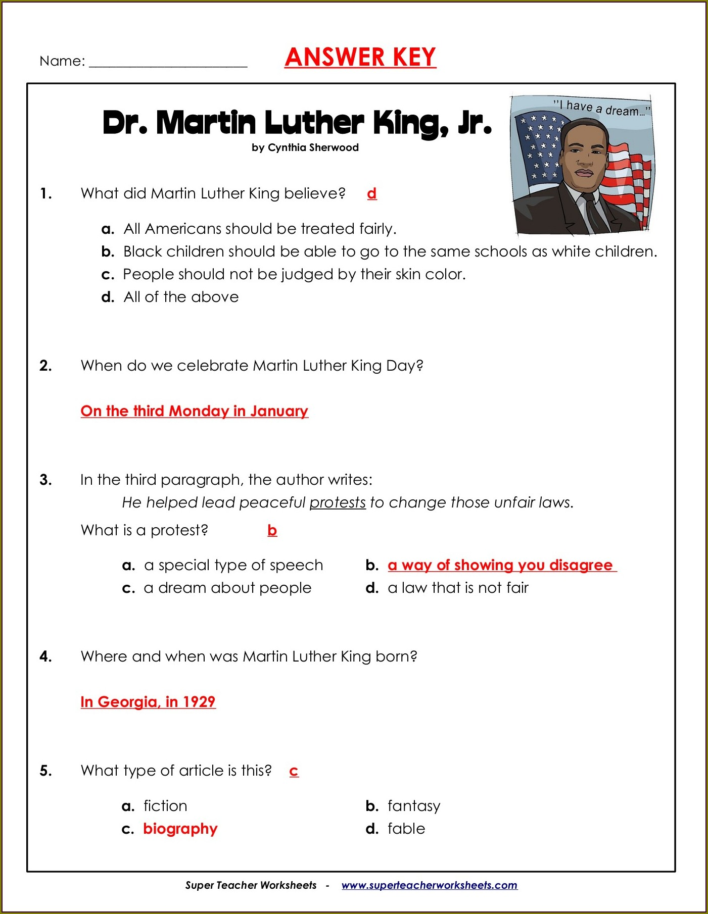 Dr Martin Luther King Jr Worksheets