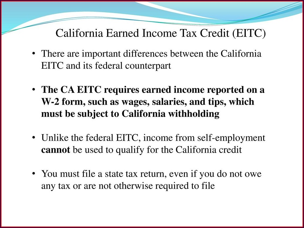 Earned Income Credit Tax Worksheet