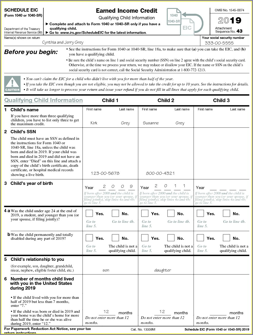 Earned Income Credit Worksheet For 2014