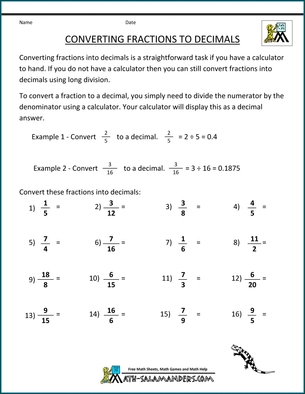 Easy Converting Fractions To Decimals Worksheet