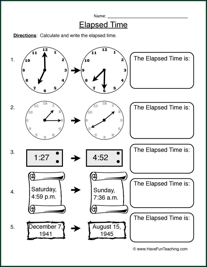 Elapsed Time 3rd Grade Clock Worksheets